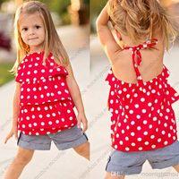 Girl Summer Sleeveless New 2014 chiffon Polka Dot Halter t shirt + jeans Shorts clothing set girls summer clothes baby shorts 2 pc set lxm 002 Z
