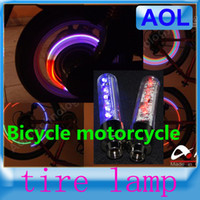 Wholesale Bicycle motorcycle Electric cars Tyre Wheel Neon Valve Firefly Spoke LED Light Lamp Blue and red patterns leds LED Flash alarm Light