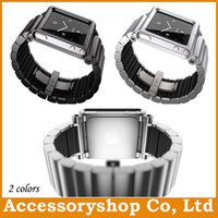 For Apple iPhone Metal White LunaTik Link Watch Band Case For iPod Nano 6 Aluminum Metal Wrist Armband Cover With Retail Package 2 colors Best Quality 50pcs Free DHL