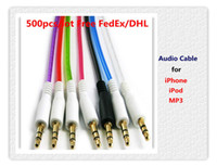 Wholesale 1M Double Layer mm Male to Male Stereo Aux car Audio Cable for iPhone iPod MP3 Free FedEx DHL