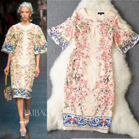 Wholesale 2014 New Arrival Women s O Neck Half Flare Sleeves Appliques Flowers Printed Straight Elegant Runway Dresses