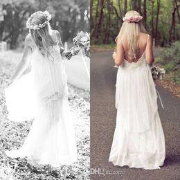 Wholesale Romantic White Boho Cheap Spaghetti beach Wedding Ball Dresses Bohemian Vintage Beach Sexy Long Party Bridal Gowns Dress Simple Chiffon