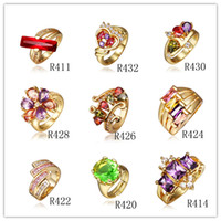 Wholesale Mixed orders K gold plated Swarovski Elements crystal ring fashion jewelry wedding gift
