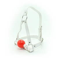 Wholesale Yeas BDSM bondage white faux leather head harness silicone ball gag bondage gag gear fetish gear sex toy adult novelty
