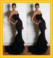 Reference Images Sweetheart Satin Hot Elegant Black Sweetheart Backless Mermaid Zuhair Murad Evening Dress Prom Party Dresses With Lace Sweep Train Celebrity Gowns