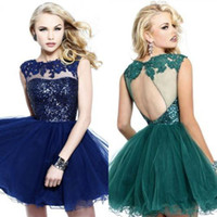 Reference Images Crew tulle 2014 Crew Neck Sequins Short Prom Dresses Appliques Short Sexy Backless Graduation Dresses Party Dresses Cheap Cocktail Dresses