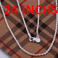 Wholesale Fashion Jewelry sterling silver mm Twist ROPE CHAIN Necklace In stock Size inch inch inch inch inch