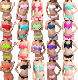 Wholesale 2014 Hot Newest Women lady Padded Up Swimsuit FringeTassel Bandeau Bikini Swimwear Bathing Suit Set Colors S M L