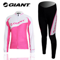 Wholesale Winter clothes Giant wear women Winter long sleeve cycling jerseys pants bike bicycle thermal fleeced wear set Plush fabric