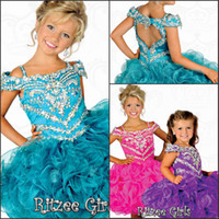 Wholesale Glitz Ritzee Toddler Cupcake Girls Pageant Dresses A Line Spaghetti Organza Crystal Backless Ruched Formal Dresses Backless Ruffles