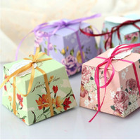 Wholesale 2014 Creative wedding paper party box gift package box candy box with ribbon