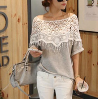 Wholesale 8029 fashion new Korea new sweet handmade crochet openwork lace shawl collar women long spot bat sleeve T shirt