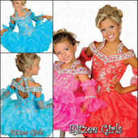 Wholesale Glitz Ritzee Cupcake Girls Pageant Dresses A Line High Neck Organza Crystal Backless Ruched Prom Dresses With Short Sleeves Hot Sale