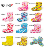 Wholesale 2014 Kids Rain Boots Rainboots Toddler Waterproof Rain Shoes Galoshes Antiskid Designs Boys Girls Cartoon Watershoe Colorful Shoes C2104