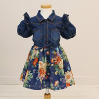 Wholesale Girl s Short Sleeve Denim Splicing Cotton Flower Print Princess Dress Jeans Blue T0416