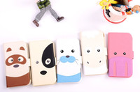Wholesale Lovely Zebra Pony Animal Cartoon Face Flip Leather Case for Samsung Galaxy S3 S4 Note2 iphone4 Jungle Forest Animal Credit Card Wallet