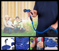 Wholesale 30pcs Retractable Magic Garden Water Hose FT Spray Gun Blue Rubber Water Pipe Free Ship opp bag