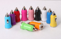 Wholesale 500pcs Universal Mini V A USB The bullet Car Charger for iPhone G GS S s Samsung iPod Cell Mobile Phone Charger Adapter