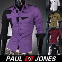 PJ Men's Fashion Designer Stylish Slim Fit Dress Shirts Tops...