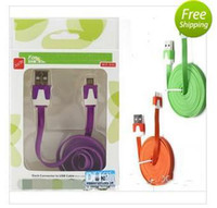 black white pink rose blue green Universal  Mixed sale 1M 3ft Micro USB v8 v9 Flat Noodle Sync Charger Cable for Samsung Galaxy S2 S3 s4 HTC One z2 + Retail Box (100 cable+ 100 box)