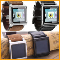 For Apple iPhone Metal Black For iPod Nano 6 LunaTik Chicago Collection Real Leather Metal Wrist Watch Band Strap Case Nano6 Clip Strap Armband Retail Package 10pcs DHL