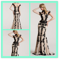 Wholesale New Formal Evening Dresses Mermaid High Neck Short Sleeves Sheer Back Fashion Party Dress Black Lace Appliques Nude Stain Prom Gowns