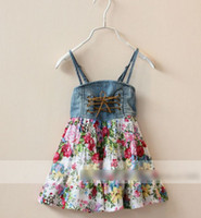 Wholesale Europe Style Summer Girls Jeans Flowers Tiered Suspender Drawstring Dresses Children Clothing Vintage Floral Tying Denim Dress Dressy H0143