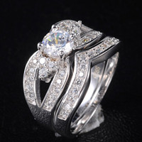 Cluster Rings Celtic Women's EXLUSIVE Women's 925 Silver Filled White Sapphire Crystal CZ Stone Wedding Ring Sets Szie 6-9