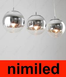 2017 pendentifs en argent Nimi246 miroir de verre moderne boule d'argent Tom Dixon lustre pendentif lumières diode luminaire diode 15cm / 25cm / 30cm / 35cm / 40cm / 50cm pendentifs en argent sortie