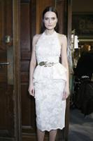 Cheap zuhair murad 2014 New Fashion Cocktail Desses Sheath Halter Backless Laec Appliques Knee Length Evening Dress