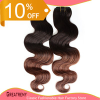 Indian Human Hair Extensions Ombre Dip Dye Two Tone T#1B #4 ...