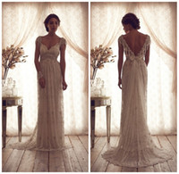 Wholesale 2014 Sexy Anna Campbell Backless Wedding Ball Gowns Cheap Beach Plus Size Wedding Dresses Beads Capped Sleeves Vintage Wedding Dresses HD153
