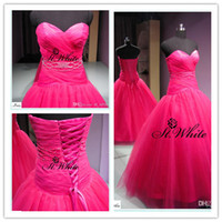 A-Line Real Photos Sweetheart WOW! 2014 Elegant Rose Red Sweetheart A-line Wedding Dresses Fine Tulle Beading Woman Prom Dresses Sweep Train Bridal Gowns Suit For Lovely