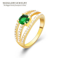 Wholesale Neoglory Czech Rhinestone Zircon Alloy K Gold Plated Wedding Rings for Women Romantic Jewelry Accessories New Arrival