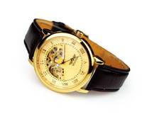 Wholesale Brand Winner Leather Automatic Mechanical Skeleton Chronograph Watch Men Leather Watch Best Gift Top Quality