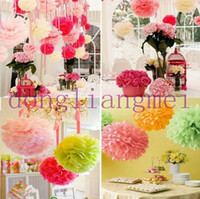 Wholesale 100pc Colorful Tissue Paper Flower Ball Tissue Paper Pom Poms quot cm Wedding Birthday Party Decoration O J116