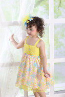 Wholesale 2014 Summer NEW Yellow Gauze Fabric Cute Baby Clothes Suspender Princess Wonderful Printing Tutu Girls dresses