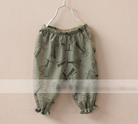 Wholesale Cotton amp Linen Summer Girls Trees Pattern Loose Casual Short Pants Children Trousers Pleated Elastic Pants Kids Plant Design Bottoms H0146