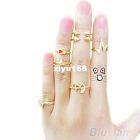 Band Rings Women's Party 7Pcs set Fashion Cute Skull Anchor Gold Cut Above Knuckle Ring Band Midi Rings Mix Hot Selling for Women