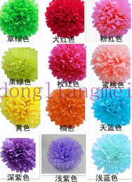 Wholesale 100pc Colorful Tissue Paper Flower Ball Tissue Paper Pom Poms quot cm Wedding Birthday Party Decoration J116