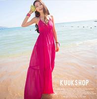 Casual Dresses V_Neck Ankle Length 2013 New Fashion Spring summer European style V neck Sleeveless Long maxi dress Halter Boho Women beach Dress Free Shipping
