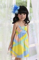 TuTu Summer A-Line 2014 Summer NEW Girls Dresses Suspender Princess Custom Fit Brand Fashion Kids Wear Yellow Multicolor Cute Baby Clothes Cotton 2800