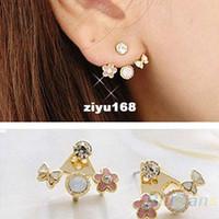 Wholesale 2014 Crystal Jewelry Fashion Korean Cute Lovely Style Rhinestone Butterfly Flower Mounted Stud Earrings for Women