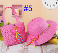 Wholesale 2014 NEW Children Summer Sun Hat and Handbag Set Baby Straw Flower Hat with Bag two piece Kids Topee colors sets BH