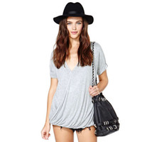 Women Polyester V_Neck 2014 Summer Women slim T-shirt V Neck Sexy Pleated Blouse Mercerized Cotton Short-Sleeved Light Grey Women s Slim T-shirt XS-XXL HDY-121