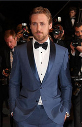 Wholesale 2014 Hot Sale Two Buttons Business Groom Tuxedos Shawl Lapel Groomsmen Men Wedding Suits For Wedding Party