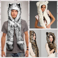 Wholesale Animal hats with paws winter hat scarf and glove set for men Faux Fur Cute Ears Gloves Scarf Hood Paws Husky Panda Lion Tiger