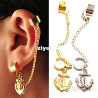 Wholesale 2014 New Fashion Rock Punk Anchor Tassel Earring Clip On Stud Hanging Earring Fashion Ear Cuff Sale