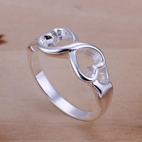 Wholesale Engagement Rings Rings Heart Sterling Silver Plated Party Ring Full Size