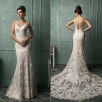 Trumpet/Mermaid Model Pictures V-Neck 2014 Lace Amelia Sposa Wedding Dresses With V Neck Backless Covered Button Mermaid Court Train New Hot Elegant Ivory Church Bridal Gowns